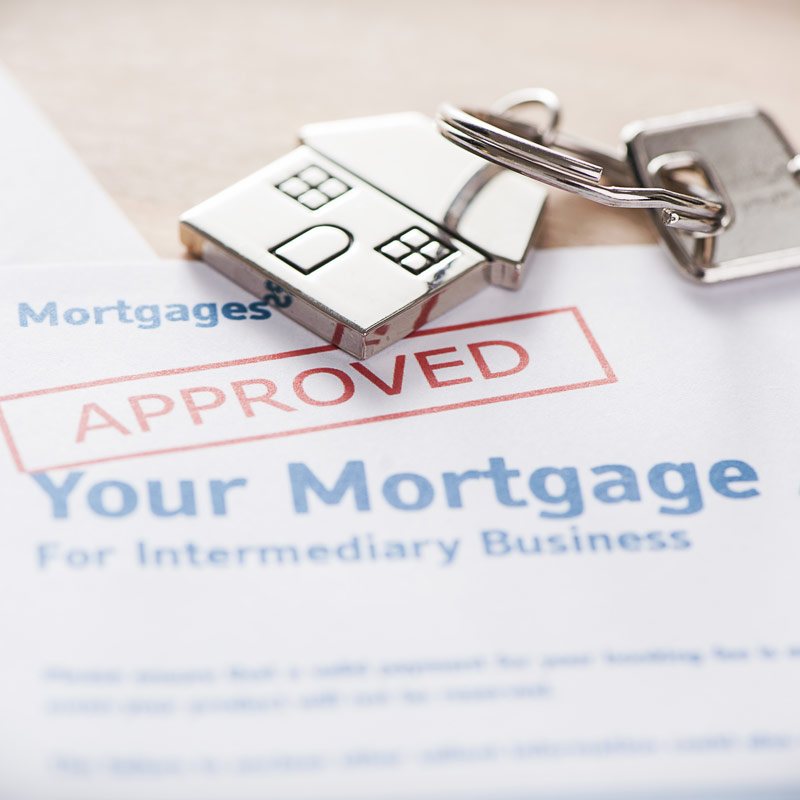 Approved Mortgage paperwork and keyring